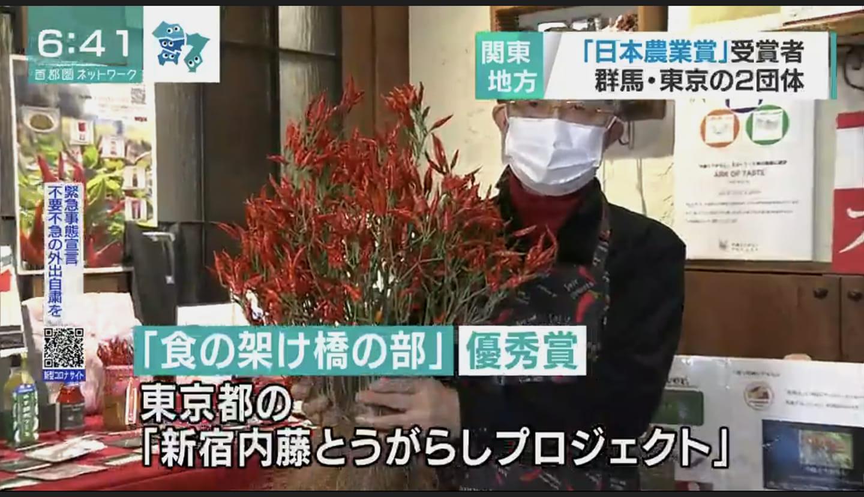 ■23区内で初受賞!第50回日本農業賞食の架け橋の部で内藤とうがらしプロジェクトが、優秀賞を受賞しました!